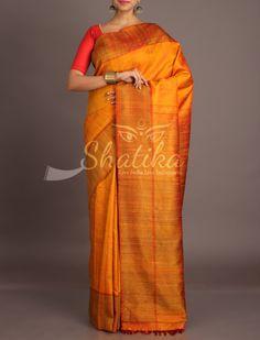 Kangana Rustic Gold Brown Standout Jute Silk Saree