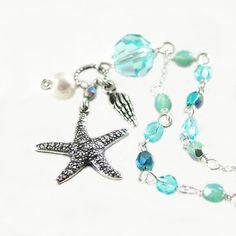 Starfish Necklace Sterling Silver Aquamarine by DorotaJewelry, $39.00
