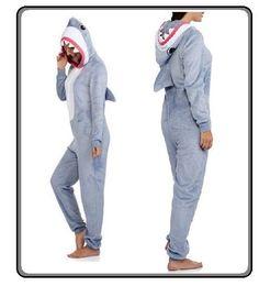SHARK One Piece Womens Costume Pajamas union suit Hoodie SHARKNADO w hood   Disney  PajamaSets 4865a1dba