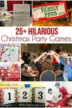 25 of the Most Entertaining Christmas Party Games 25 super fun Christmas games that everyone will love! Perfect party games for any occasion! Play minute to win it style or just play your favorites! Office Christmas Party Games, Christmas Party Games For Adults, Office Party Games, Adult Christmas Party, Christmas Games For Family, Holiday Party Games, Fun Party Games, Adult Party Games, Birthday Party Games
