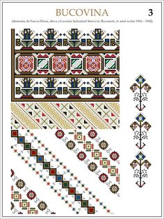 Semne Cusute: ie din BUCOVINA Folk Embroidery, Learn Embroidery, Floral Embroidery, Embroidery Stitches, Embroidery Patterns, Cross Stitch Patterns, Machine Embroidery, Beading Patterns, Palestinian Embroidery