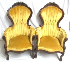 Dining Chairs Pair of Vintage Kimball Victorian Rose Carved Highback Chairs | eBay