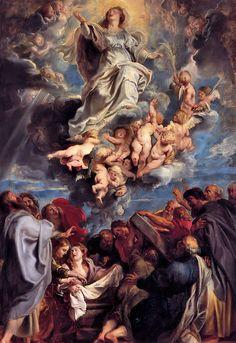 Tenhemelopneming van de Goddelijke en Heilige Maagd Maria olieschets; een ontwerp voor een altaarstuk