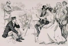 Art Lesson . She Goes Into Colors.Charles Dana Gibson (1867 – 1944)