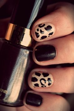 "I'm going to do a matte black manicure with shiny black French tip, red underneath to ""Louboutin-ize"" it, then do one nail on both ring fingers in the leopard print ;)"