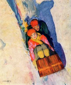 Couple on Toboggan by McClelland Barclay Painting Print on Canvas