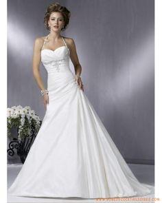 Robe A-ligne col au cou ornée de broderies robe de mariée blanche