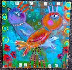 Tracey Ann Finley Original Outsider Folk Painting Colorful Bird Crossing 12x12 #OutsiderArt