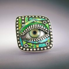 Sterling Silver ajustable Eye Ring inlaid with by LizardsJewelry, $89.00