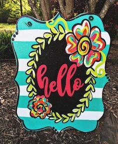 Floral Tiffany Stripe Door Hanger Sign – Marjorie B. Davis Home Teacher Door Hangers, Letter Door Hangers, Cross Door Hangers, Burlap Door Hangers, Wooden Hangers, Teacher Door Signs, Canvas Door Hanger, Wooden Door Signs, Wooden Doors