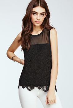 Baroque Lace Overlay Top by Forever 21 on HeartThis