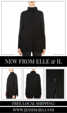 This is the 'Krisy' Black Merino Sweater by stunning brand, Elle & Il. This gorgeous piece features a loose fit, roll neck, and lovely feel. This is the perfect piece to carry you into the colder season! Roll Neck, Loose Fit, Shop Now, Fitness, Clothing, Sweaters, Shopping, Collection, Black
