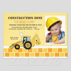 Little Construction Worker Birthday Invitation