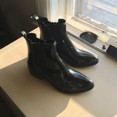 Jeffery Campbell Stormy Rain Boots Jeffery Campbell Stormy Chelsea Rain Boots. Size 7. Like new condition. Light markings on the front, not noticeable. I can try to photograph if needed. Selling because they are a little big on me. Jeffrey Campbell Shoes Winter & Rain Boots