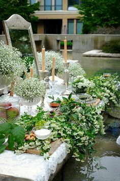 This is the sofreh idea. The accent color is gold, but this natural 'overflow' of foliage is amazing. Wedding Sets, Wedding Table, Wedding Reception, Rustic Wedding, Iranian Wedding, Persian Wedding, Destination Wedding, Wedding Planning, Outdoor Wedding Decorations