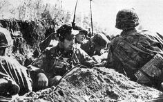 Waffen-SS  050.( original caption). Waffen SS unit in a trench. Date and location unknown.