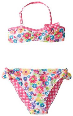 b9da26d1bc483 Little Girls  2 Piece Summer Garden Gingham Print Bikini Floral Bikini Set