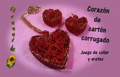 Corazón de cartón corrugado, juego de collar y aretes - Heart of corruga...