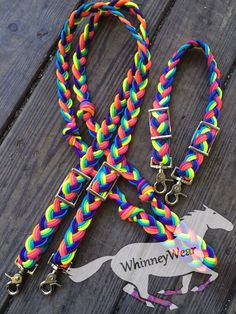 Neon rainbow reins & wither strap! Please find pricing and order at www.whinneywear.com