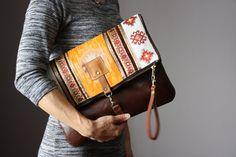 Tapestry bohemian clutch leather clutch orange by VitalTemptation