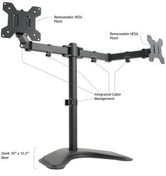 """Amazon.com : VIVO Dual LCD Monitor Desk Stand/Mount Free Standing Adjustable 2 Screens upto 24"""" : Computer Monitor Stands : Office Products"""