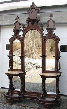 Victorian Walnut Entry Hall Mirror ***The mirrors at the bottom were to check that your petticoat wasn't showing. Victorian Furniture, Victorian Decor, Victorian Homes, Vintage Furniture, Victorian Era, Furniture Styles, Unique Furniture, Furniture Decor, Wooden Furniture