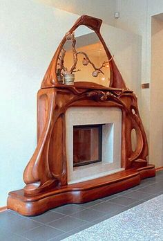 Carved fireplace suround