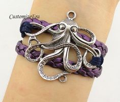 Antique silver Octopus Charm Bracelet