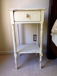 Annie Sloan old ochre chalk paint hand painted distressed nighstand on Etsy, $50.00