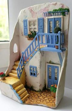 Framework Santorini by Vincenzo Abbot Vitrine Miniature, Miniature Rooms, Miniature Houses, Clay Houses, Ceramic Houses, Ceramic Clay, Clay Projects, Clay Crafts, Diy And Crafts