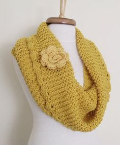 Yellow Cowl Neckwarmer With Flower Brooch-Ready by knittingshop