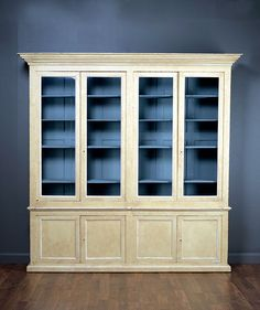 Antique 19th Century French Restaurant Bookcase Cabinet Four Glass Doors and Four Bottom Doors Yellow Paint