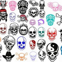 SKULL head biker embroidery machine  designs set / motifs pour broderie machine / INSTANT DOWNLOAD                                                                                                                                                                                 Plus