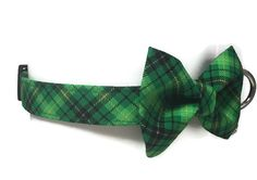 St. Patty's Plaid Bow Tie Dog Collar size Large by jeanamichelle