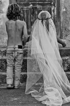 The best!  One day.  Hippie hipster kids playing dress up in a long wedding veil and jeans.