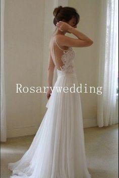 The back. Sexy spaghetti straps lace chiffon wedding dress. $219.00, via Etsy.