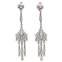 Art Deco Diamond Earrings | From a unique collection of vintage chandelier earrings at http://www.1stdibs.com/jewelry/earrings/chandelier-earrings/