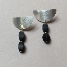 Sterling silver and matte onyx earrings by Jane Barry Jewelry