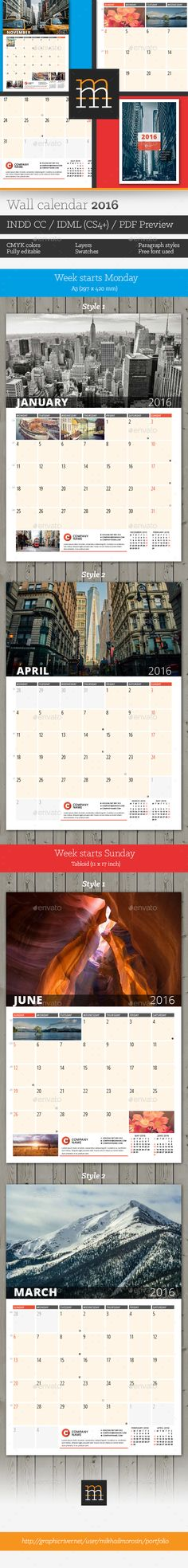 Wall Calendar 2016 Template PSD #design Download: http://graphicriver.net/item/wall-calendar-2016/13621396?ref=ksioks