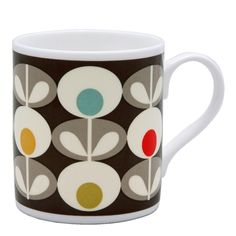Black Multi Oval Mug by Orla Kiely bone china