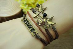 Brown charm braceletbronze anchor love birdbrown by Richardwu, $6.99