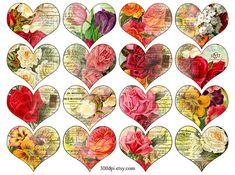 Vintage Printable Tags Digital Collage Sheet flowers and door 300dpi
