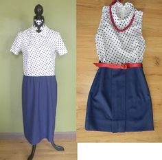 Vintage Refashion. This could also work with a polka dot shirt and a blue shirt