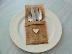 Burlap Linen Flatware Holder Burlap Cutlery by GracesLacesWedding