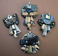 A group of pendants I just finished. Polymer clay, glass beads and chohua jasper. Cool stones aren't they? Polymer Clay Pendant, Clay Jewelry, Jasper, Belly Button Rings, Glass Beads, Arts And Crafts, Pendants, Brooch, Pendant Necklace