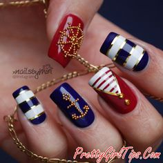 @prettygirltips Nautical Nails with Jewels via