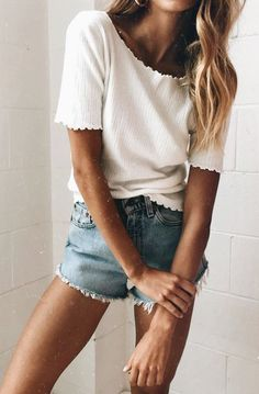 summer outfits  White Tee + Denim Short
