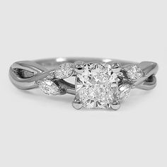 $1090 beautiful ring, love how whimsical it is. Platinum Willow Diamond Ring