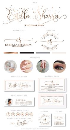 Rose Gold Branding Kit Photography Logo Premade wedding Logo