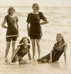 Four girls in shallow water